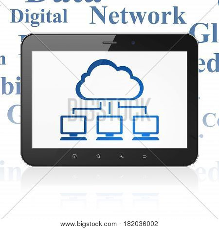 Cloud computing concept: Tablet Computer with  blue Cloud Network icon on display,  Tag Cloud background, 3D rendering