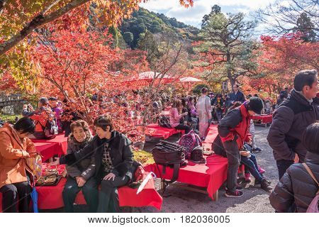 Kyoto Japan - November 27 2015 : Unidentified people visit Eikando temple in autumn.Eikando temple is one of the most popular tourist at Kyoto in high season ( Momiji) Kyoto Japan.