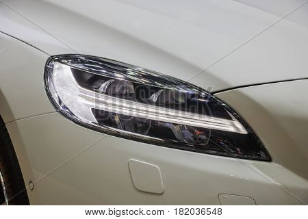 The Closeup technology Front Headlight reflection car