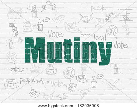 Political concept: Painted green text Mutiny on White Brick wall background with Scheme Of Hand Drawn Politics Icons