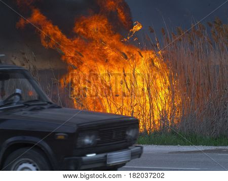 The car is driving along the road near the fire