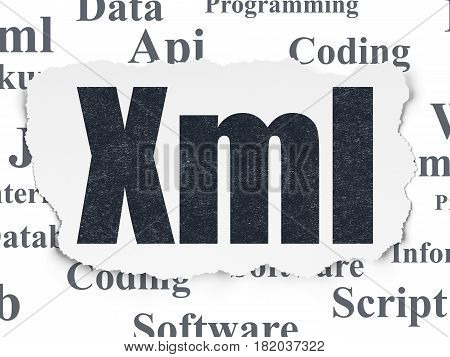 Software concept: Painted black text Xml on Torn Paper background with  Tag Cloud
