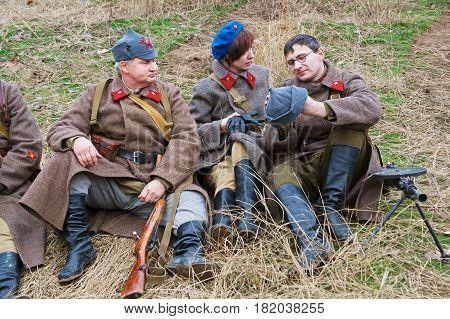 Volgograd Russia - November 21 2010: Portrait of actors dressed as Russian Soviet soldier of World War II in military-historical reconstruction in Volgograd.