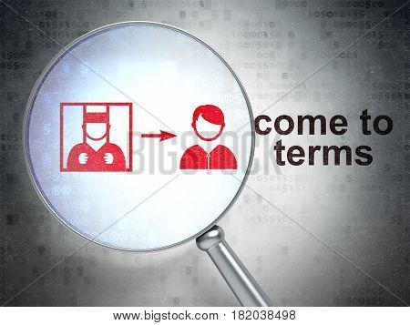 Law concept: magnifying optical glass with Criminal Freed icon and Come To Terms word on digital background, 3D rendering