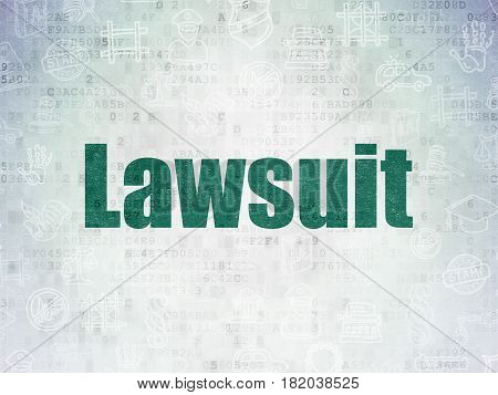 Law concept: Painted green text Lawsuit on Digital Data Paper background with   Hand Drawn Law Icons