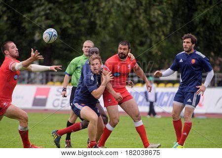 MOSCOW, RUSSIA - JUNE 28, 2014: Match France (blue uniform) vs Georgia during the FIRA-AER European Grand Prix Series. Georgia wins 31-14