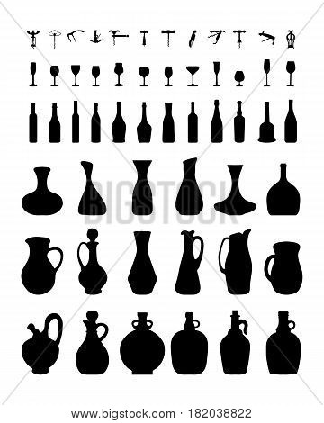 Silhouettes of bowls, bottles, glasses and corkscrew