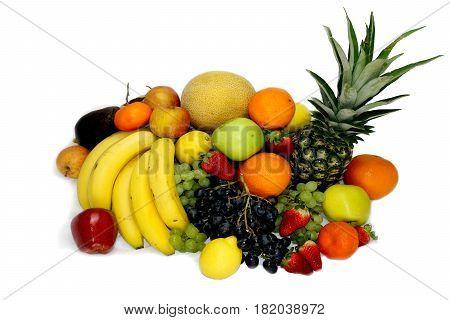 Fruit vegetables isloated white grape apple pineapple strawberry kiwi