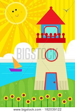 Cute design of a seascape with lighthouse and a smiling sun. Eps10
