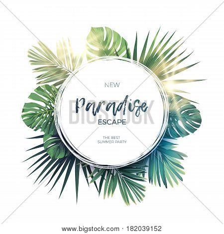 Green summer tropical background with exotic palm leaves and plants. Floral background, vector illustration.