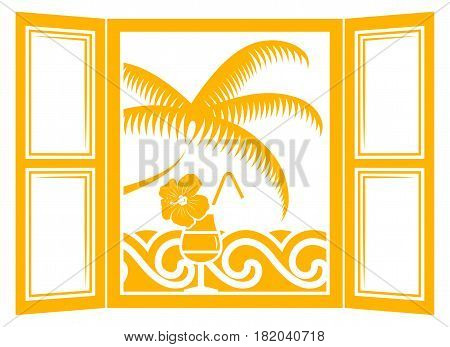 vector summer cocktail in the window and waves and palm tree outside the window isolated on white background