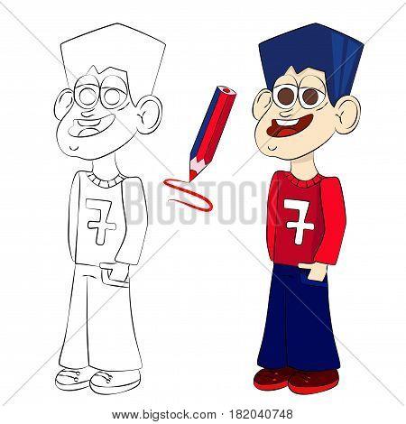 Standing boy coloring book page. Vector cartoon illustration.
