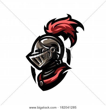 Medieval warrior knight in helmet. Logo, emblem symbol.