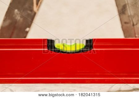 Red Spirit Level Shows That Standing Straight