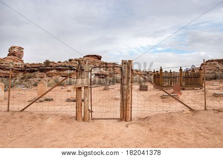 The cemetery of Grafton Ghost town with fence and the door