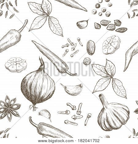Hand drawn seamless set of organic spices. Vector illustration