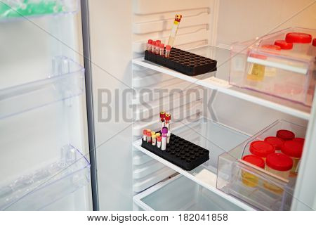 Open refrigerator with plastic containers with different tests.