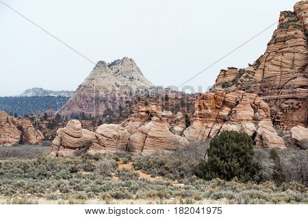 Beautiful view from the Kolob Terrace Road an impressive rock formation from wind erosion Zion National Park Utah USA