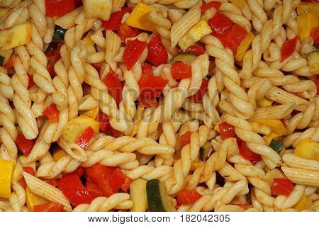 Pasta Salad with different Noodles and Vegetables