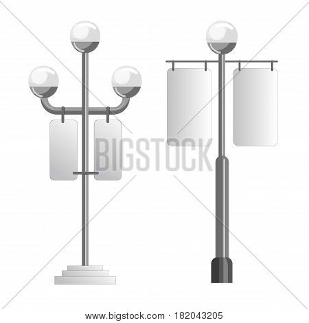 Advertising spaces and outdoor media displays templates. Vector isolated banner signage on street light poles