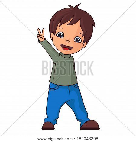 Boy making victory sign on a white background