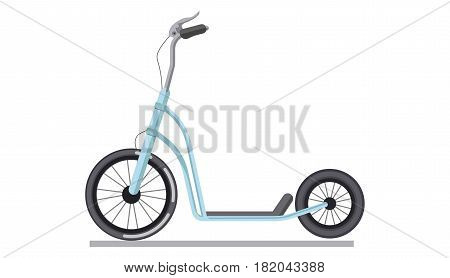 Kick scooter or push bike vehicle. Modern urban wheel transport vector isolated flat icon