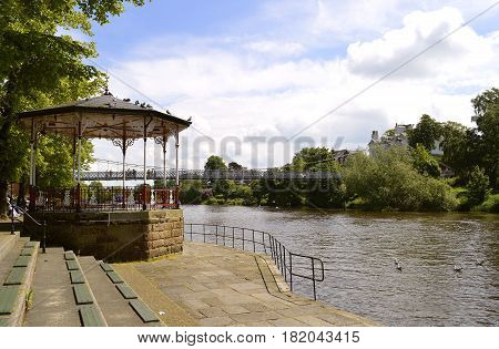 Chester England UK Europe - May 26 2014 : Bandstand on the River Dee in Chester City centre