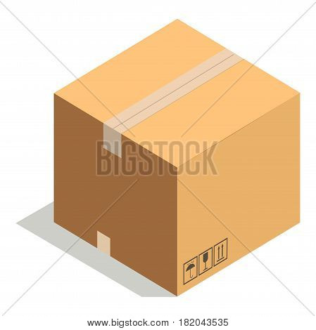 Carton box or cardboard post package. Vector flat isolated 3D icon of closed shipping parcel or pack for delivery sealed with adhesive tape