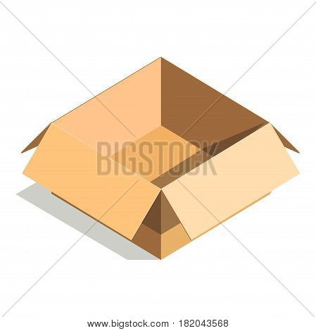 Carton box or cardboard post package. Vector flat isolated 3D icon of open shipping parcel or pack for delivery