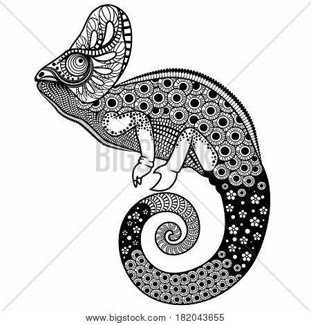 Ornate chameleon vector illustration on a white background