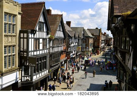 Chester England UK Europe - May 26 2014 : Tourists on Foregate street in Chester City centre