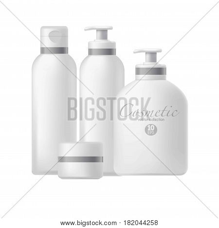 Cosmetic 3D package templates or mockups. Plastic containers and tubes for liquids, cream jars and soap dispenser or shampoo bottles with caps. Vector set on white background