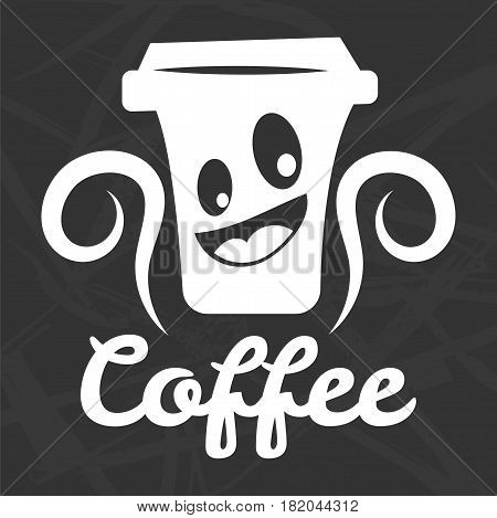 Coffee logo template. Vector isolated icon of mug or cup with smile and steam for coffeehouse, coffeeshop cafeteria or cafe