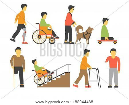 Handicapped people with physical disability. Man in wheel chair with amputated leg and hand prosthesis, blind person and dog guide. Vector flat icons for medical infographics