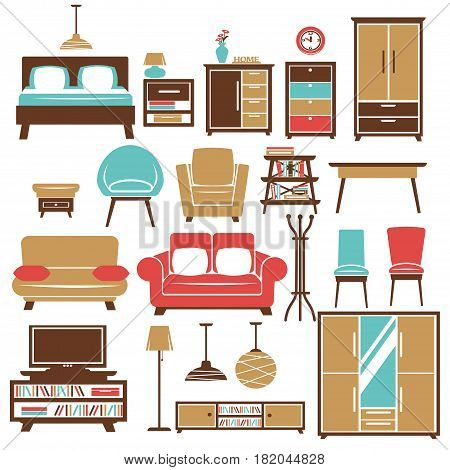 Home furniture and room interior accessories. Vector flat icons set of chair and sofa, chest and book shelf, lamp and clock or tv stand and table in bedroom