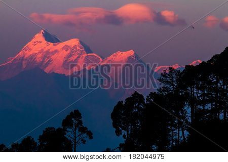 Sunset on Trishul Peak in India. Elevation 7,120 Meter