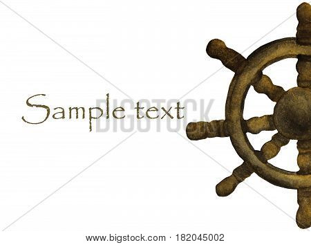 Wooden steering wheel for ships and boats with place for text. Hand painted watercolor.