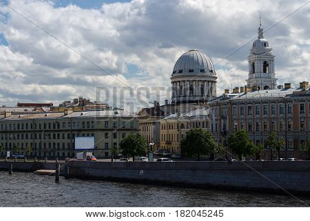 Panorama Neva river, Tuchkov Bridge, Catherine Church, Saint Petersburg, Russia