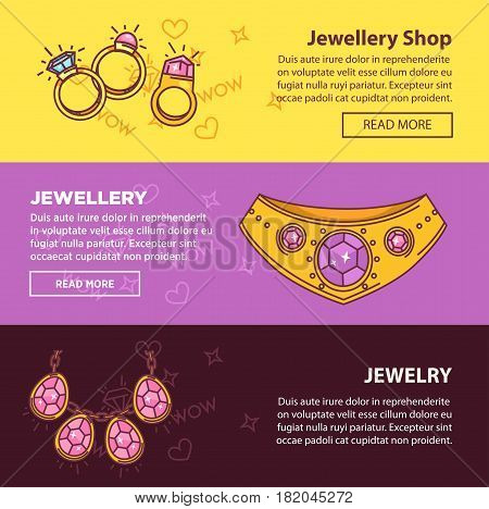 Jewelry shop banners or landing pages templates set. Vector flat design with gemstones of diamond and golden wedding rings, gold earrings, necklace bijou