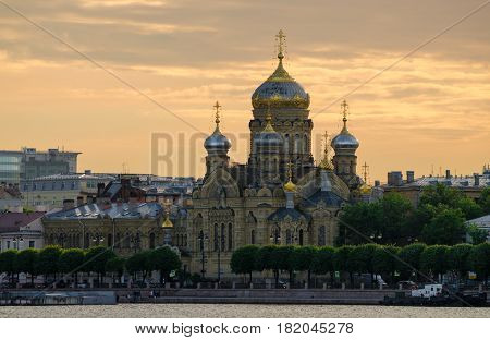 Uspensk Cathedral, Saint Petersburg, Russia. Summer sunset.