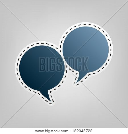 Speech bubble sign. Vector. Blue icon with outline for cutting out at gray background.
