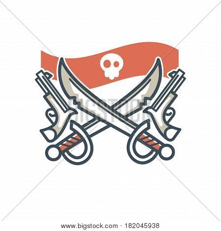 Jolly Roger pirate vector icon or logo. Vector symbol of piracy flag, skeleton skull crossed bones, swords or sabers and guns