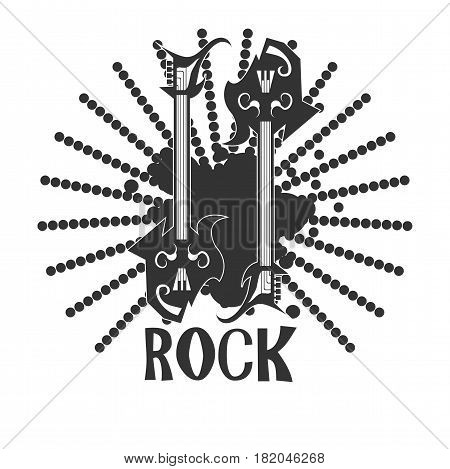Rock band or rocker music festival logo template. Vector symbol of electric guitars on grunge sun beams ornament