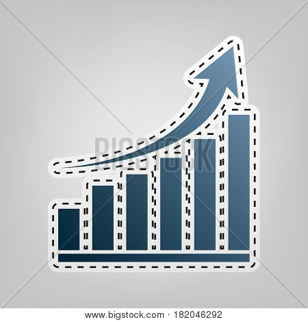 Growing graph sign. Vector. Blue icon with outline for cutting out at gray background.