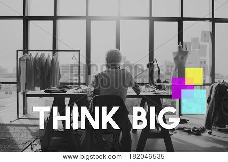 Think Big Square Motivation Thoughts Word