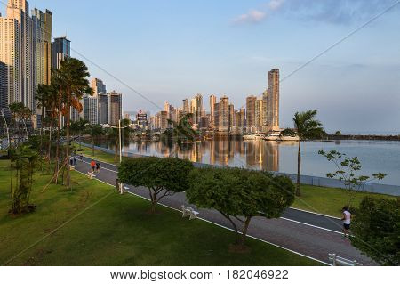 Panama City Panama - March 18 2014: View of the downtown of Panama City in Panama at sunset.