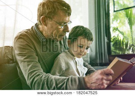 Grandfather Grandson Family Reading Leisure