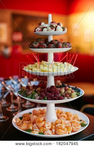 Pyramid Of Fresh Fruits on holiday table