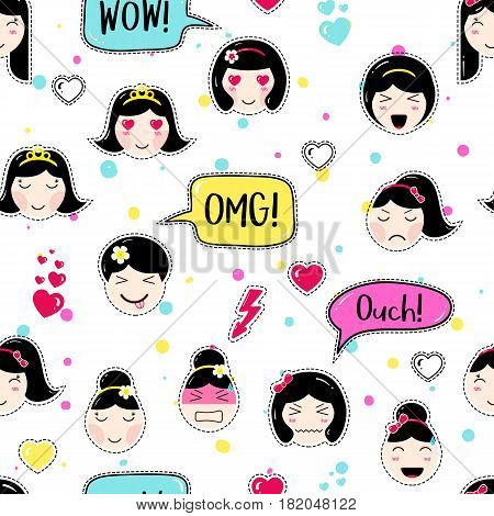 Emoji seamless pattern in asian style with anime emoticons girls. Tillable background for fabric, print, textile, wrapping paper or wallpaper. Cute emoji girls with speech bubbles and different moods.