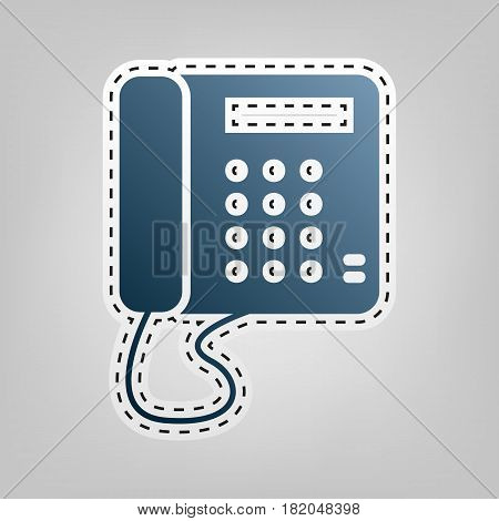 Communication or phone sign. Vector. Blue icon with outline for cutting out at gray background.